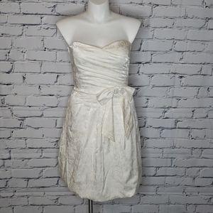 Strapless Floral Bubble Hem Dress
